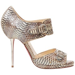 CHRISTIAN LOUBOUTIN scaled leather buckle strap metal pin heel sandals EU37