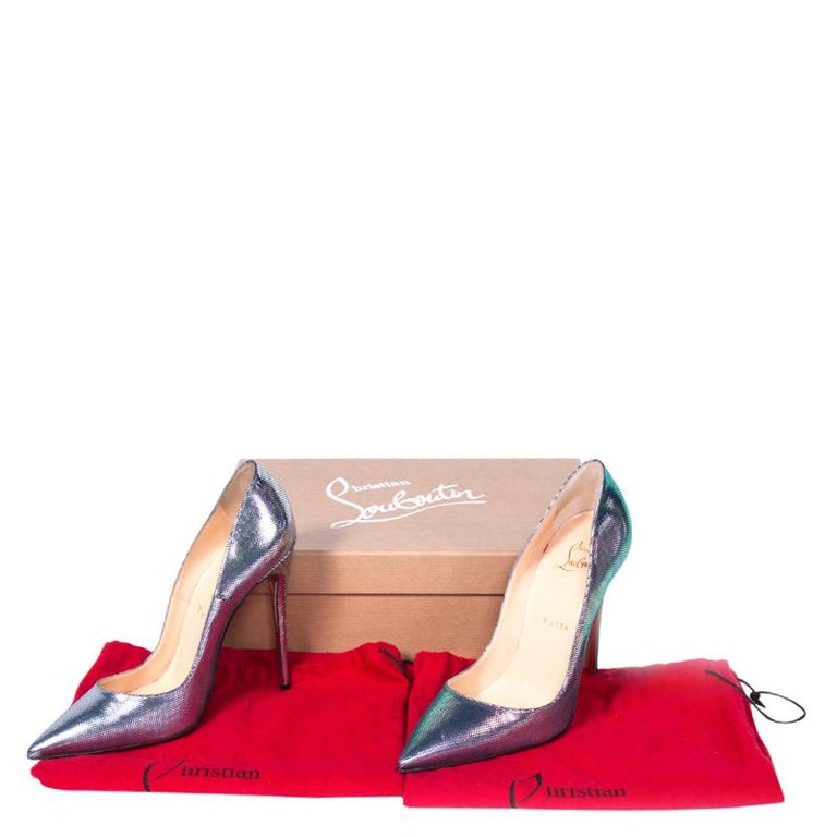 brand new 82e83 4f019 Christian Louboutin Scarabe Leather & Mesh So Kate Pumps Size 37