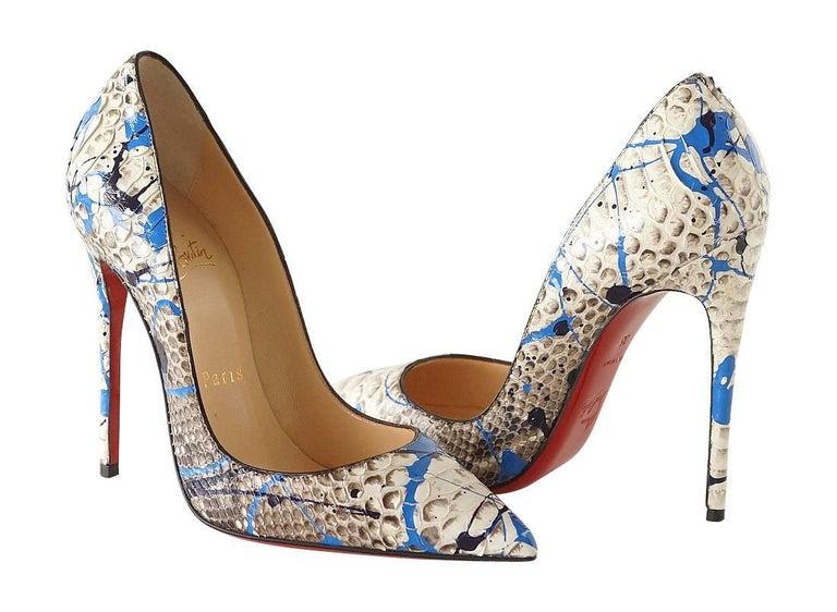 Women's Christian Louboutin Shoe Python Graffiti Pigalle 115mm 35 / 5 New For Sale