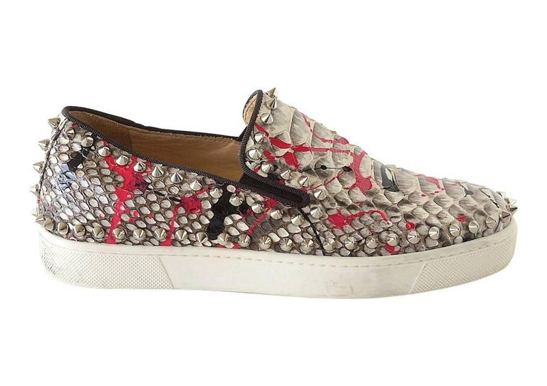 Christian Louboutin Shoe Snakeskin Graffiti Pik Boat Sneakers 35 / 5   In Excellent Condition For Sale In Miami, FL