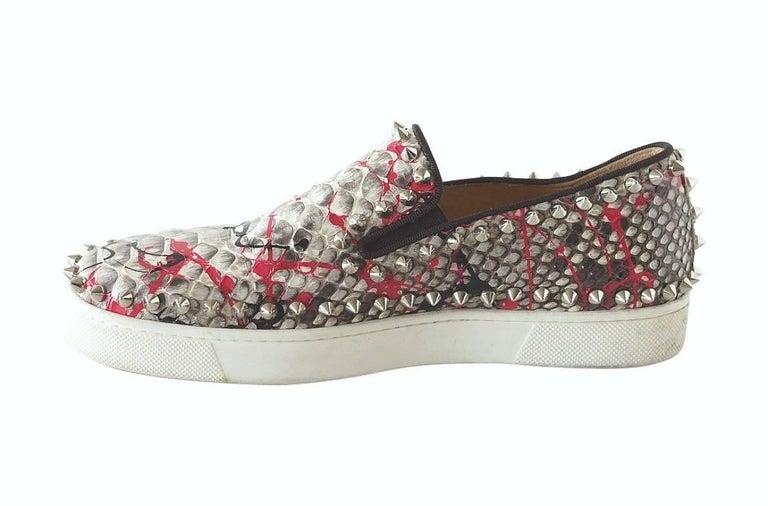 Women's Christian Louboutin Shoe Snakeskin Graffiti Pik Boat Sneakers 35 / 5   For Sale