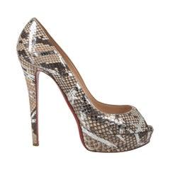 Christian Louboutin Shoe Taupe/Silver Snakeskin Platform 39.5 / 9.5