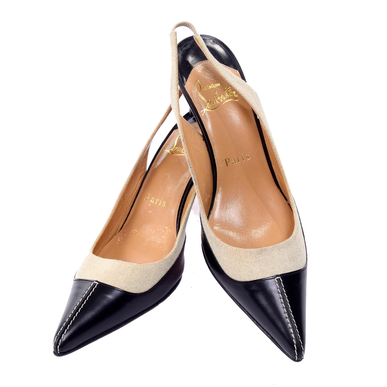 best sneakers ab7af 61814 Christian Louboutin Shoes Slingback Heels in Two Tone Black & Natural Size  38.5