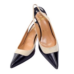 Christian Louboutin Shoes Slingback Heels in Two Tone Black & Natural Size 38.5