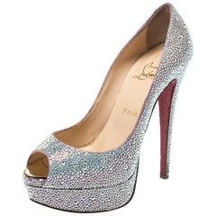 Christian Louboutin Silver Crystal Lady Peep Toe Platform Pumps Size 38