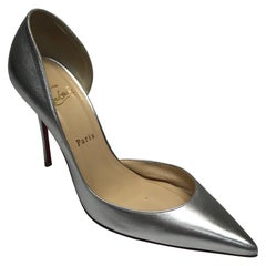CHRISTIAN LOUBOUTIN Silver D'orsay Shoes-39.5