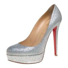 Christian Louboutin Silver Glitter Bianca Pumps Size 40