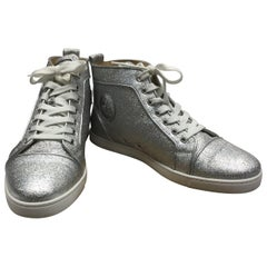 Christian Louboutin Silver Glitter High Top Sneakers
