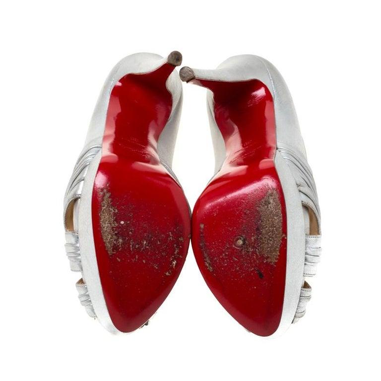 Christian Louboutin Silver Leather Criss Cross Peep Toe Platform Pumps Size 39 1