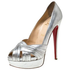 Christian Louboutin Silver Leather Criss Cross Peep Toe Platform Pumps Size 39