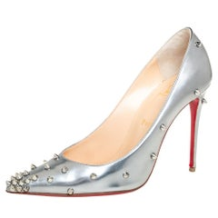 Christian Louboutin Silver Leather Degraspike Pumps Size 38.5