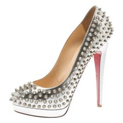 Christian Louboutin Silver Metallic Leather Alti Spike Platform Pumps Size 39