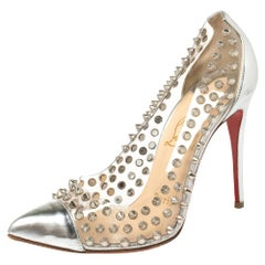 Christian Louboutin Silver Patent Leather And PVC Debout Pumps Size 36