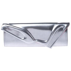 Christian Louboutin Silver Patent Leather So Kate Baguette Clutch