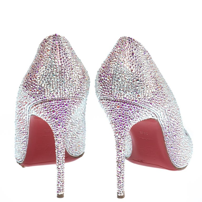 Women's Christian Louboutin Silver Strass Fifi Pumps Size 38.5 For Sale