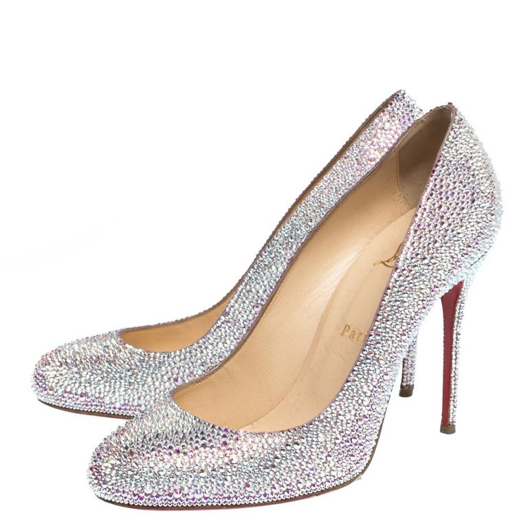 Christian Louboutin Silver Strass Fifi Pumps Size 38.5 For Sale 1