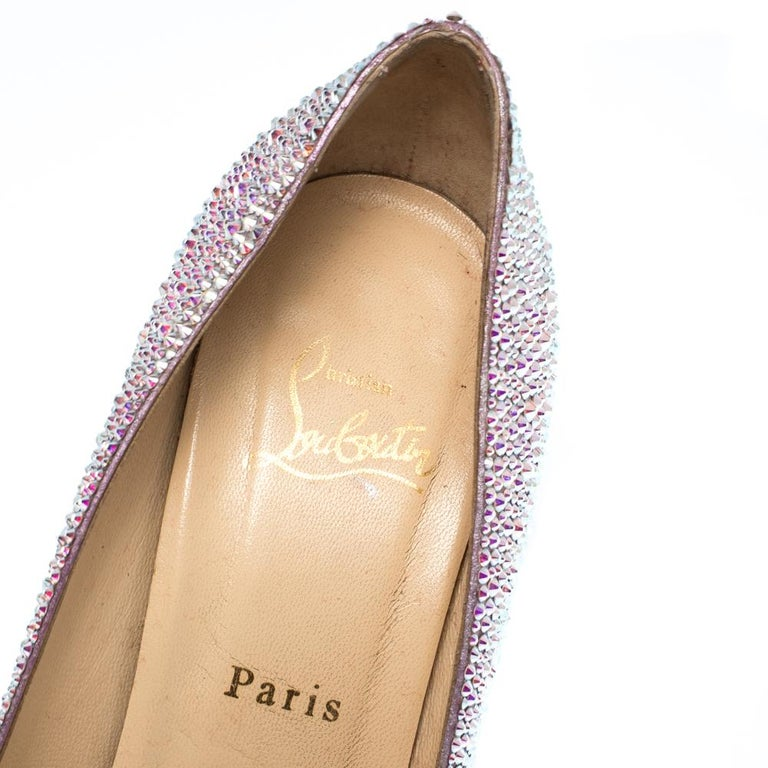 Christian Louboutin Silver Strass Fifi Pumps Size 38.5 For Sale 2