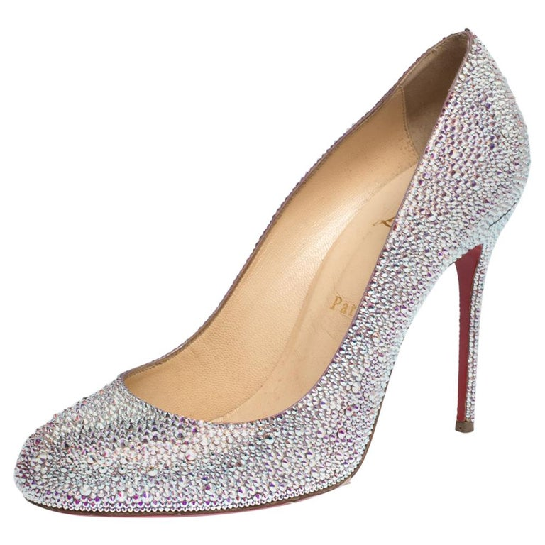 Christian Louboutin Silver Strass Fifi Pumps Size 38.5 For Sale