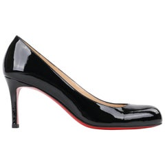 "CHRISTIAN LOUBOUTIN ""Simple Pump 85"" Black Patent Leather Classic Pump Heels NIB"
