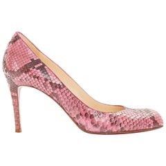 CHRISTIAN LOUBOUTIN Simple Pump 85 genuine pink python almond toe high heel EU36