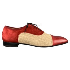 CHRISTIAN LOUBOUTIN Size 10 Red & Beige Toe Cap Dress Shoes