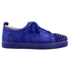 CHRISTIAN LOUBOUTIN Size 10 Royal Blue Suede LOUIS JUNIOR Spike Sneakers