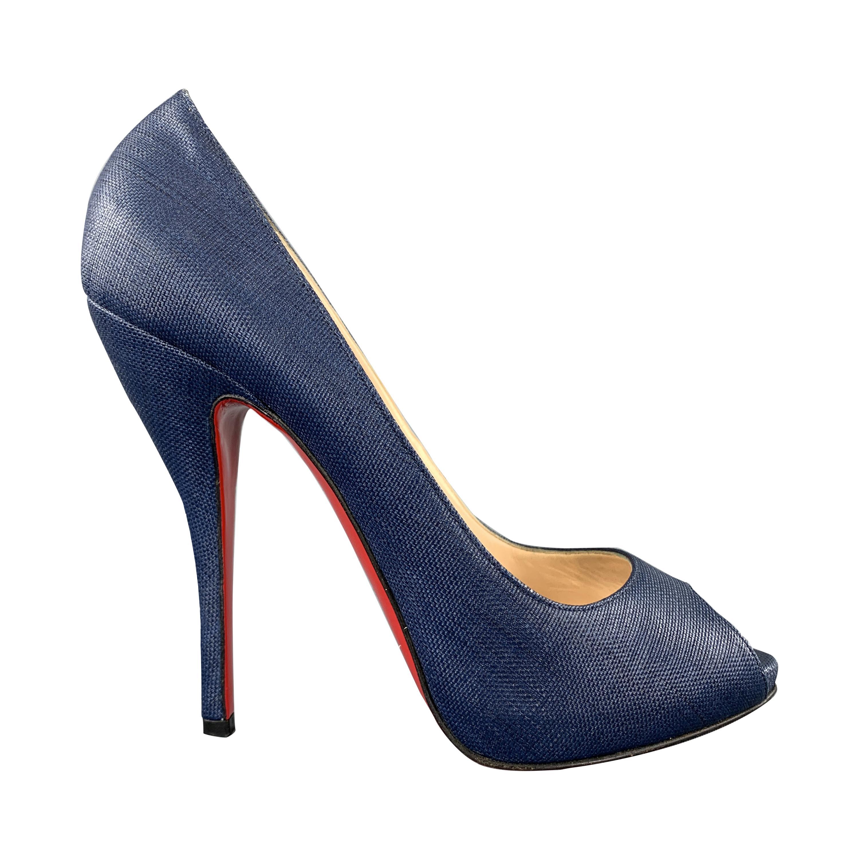 CHRISTIAN LOUBOUTIN Size 10.5 Denim Blue Woven Fabric Peep Toe Platform Pumps