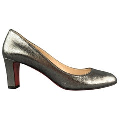 CHRISTIAN LOUBOUTIN Size 11 Silver Leather Chunky Pumps