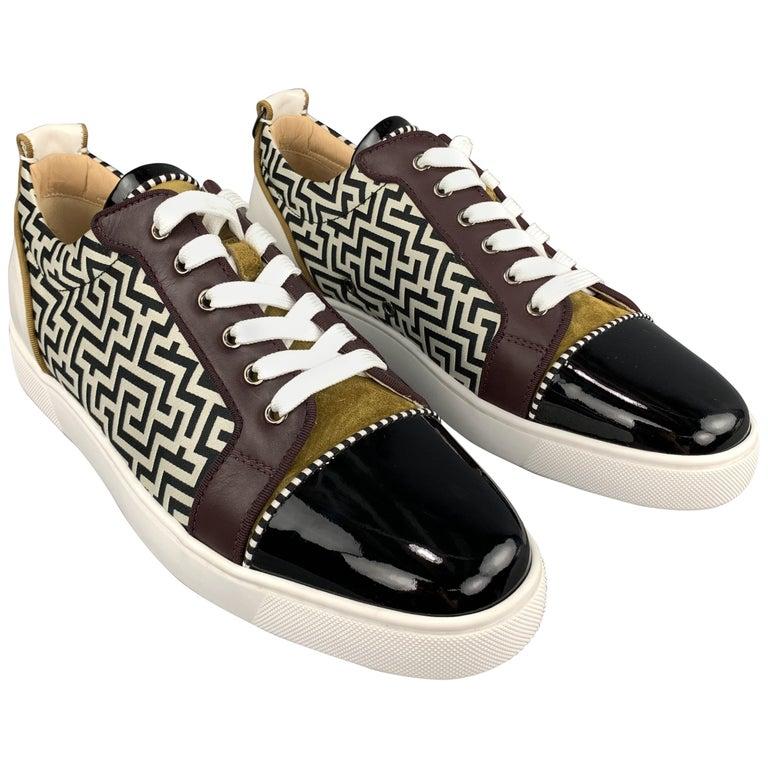 the best attitude 9140b e2405 CHRISTIAN LOUBOUTIN Size 11.5 Louis Junior Orlato Flat Black Patent Toe  Sneaker