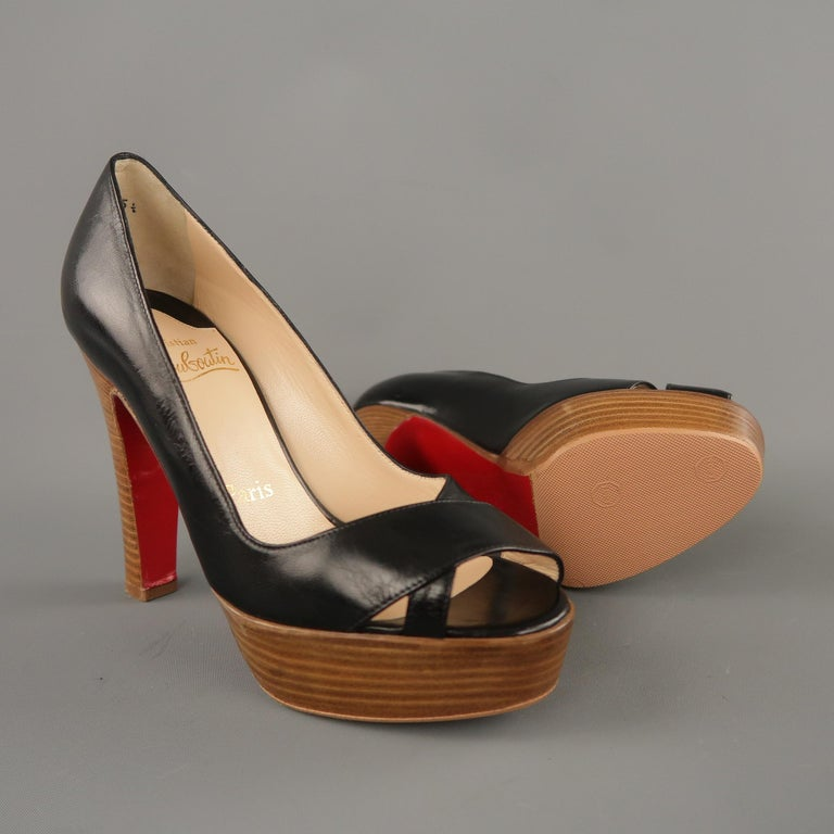 Brown CHRISTIAN LOUBOUTIN Size 5.5 Black Leather Peep Toe Stacked Platform Pumps For Sale