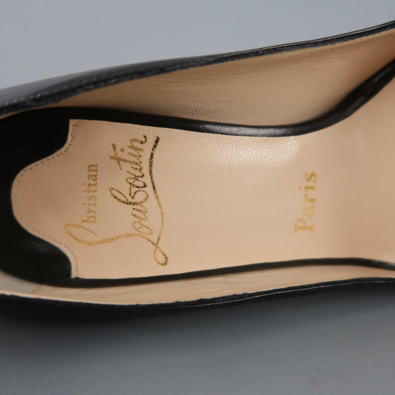 Women's CHRISTIAN LOUBOUTIN Size 5.5 Black Leather Peep Toe Stacked Platform Pumps For Sale