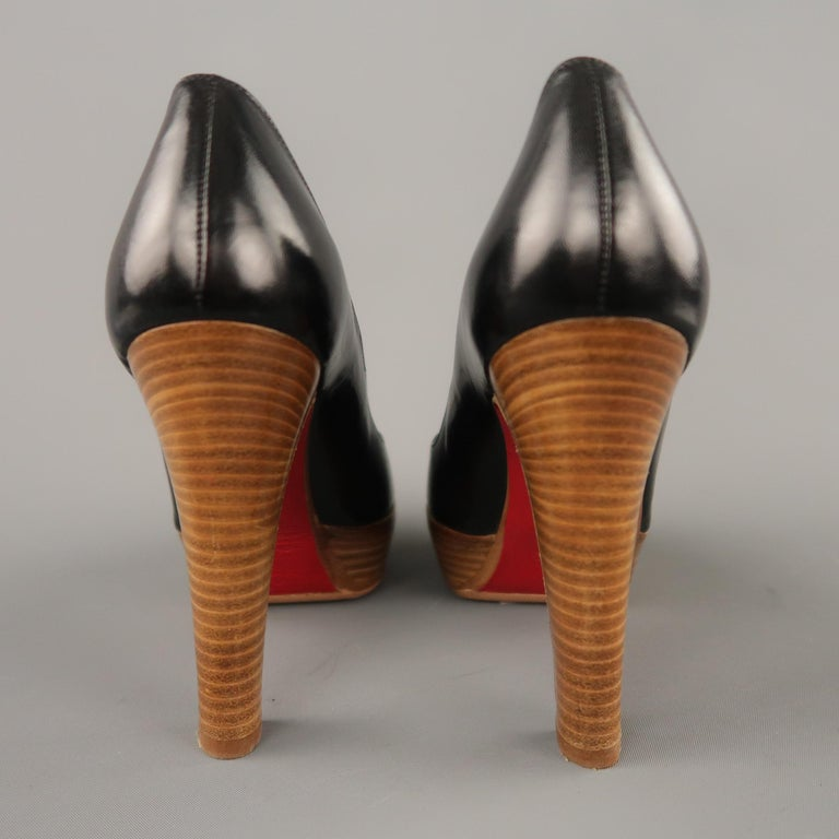 CHRISTIAN LOUBOUTIN Size 5.5 Black Leather Peep Toe Stacked Platform Pumps For Sale 1