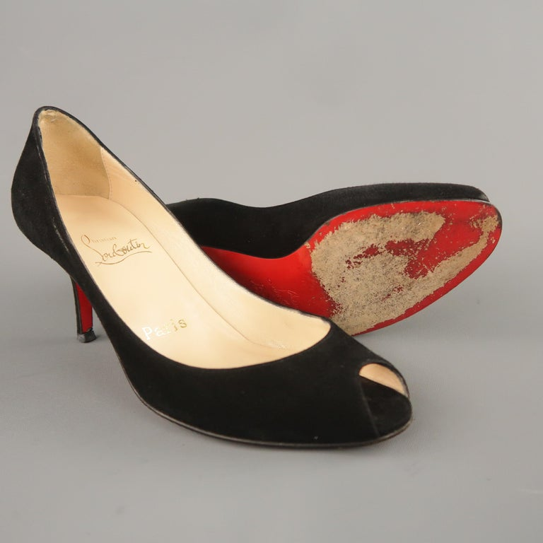 sports shoes 4313a 66be6 CHRISTIAN LOUBOUTIN Size 6.5 Black Suede Peep Toe Kitten Heel Pumps