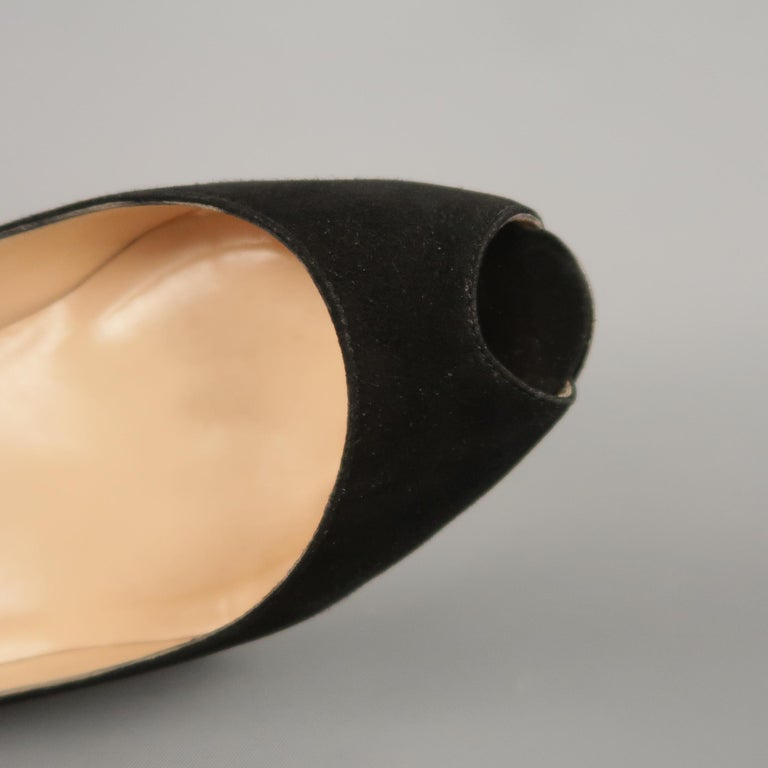Women's CHRISTIAN LOUBOUTIN Size 6.5 Black Suede Peep Toe Kitten Heel Pumps For Sale