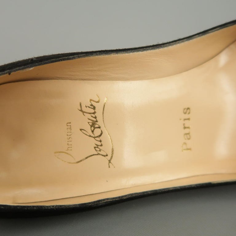 CHRISTIAN LOUBOUTIN Size 6.5 Black Suede Peep Toe Kitten Heel Pumps For Sale 1