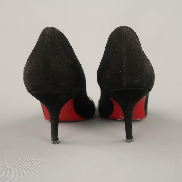CHRISTIAN LOUBOUTIN Size 6.5 Black Suede Peep Toe Kitten Heel Pumps For Sale 2