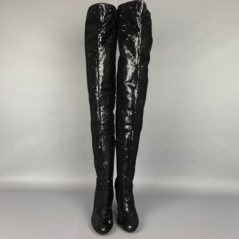CHRISTIAN LOUBOUTIN Size 7 Black Sequined Over The Knee Round Toe Louise Boots In New Condition For Sale In San Francisco, CA