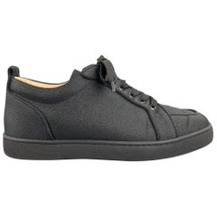 CHRISTIAN LOUBOUTIN Size 9 Black Lurex Denim Lace Up Sneakers