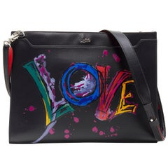 CHRISTIAN LOUBOUTIN Skypouch Love graffiti black leather crossbody clutch bag