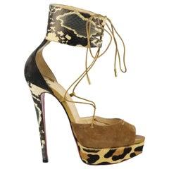 Christian Louboutin Snake Effect Leather And Suede Platform Sandals EU 38.5 UK 5