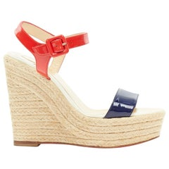 CHRISTIAN LOUBOUTIN Spachica 120 red blue patent open toe jute wedge heel EU36