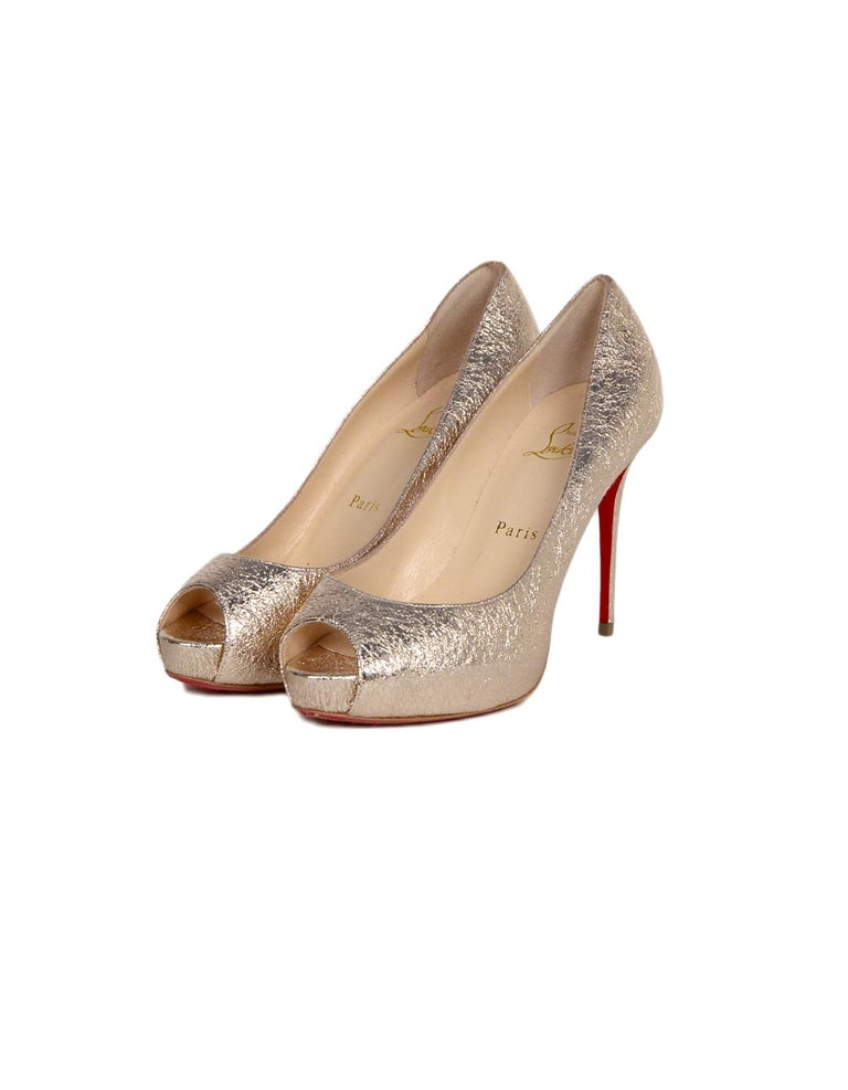 334d7c3f323 Christian Louboutin Specchio Leather New Very Prive 100 Peep Toe Pumps sz  37.5