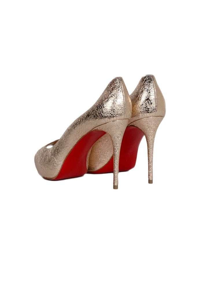 sports shoes cc1fc 7bf94 Christian Louboutin Specchio Leather New Very Prive 100 Peep Toe Pumps sz  37.5