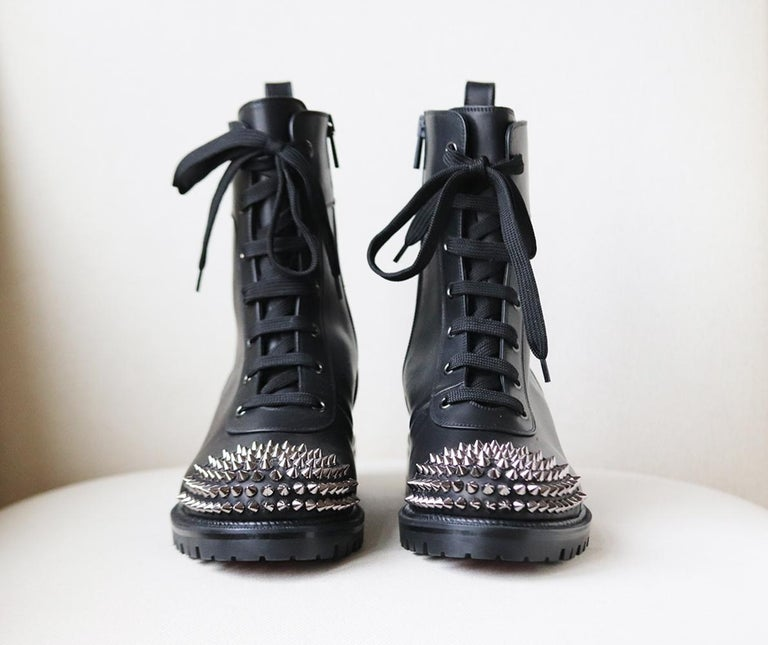 Black Christian Louboutin Spiked Leather Ankle Boots For Sale