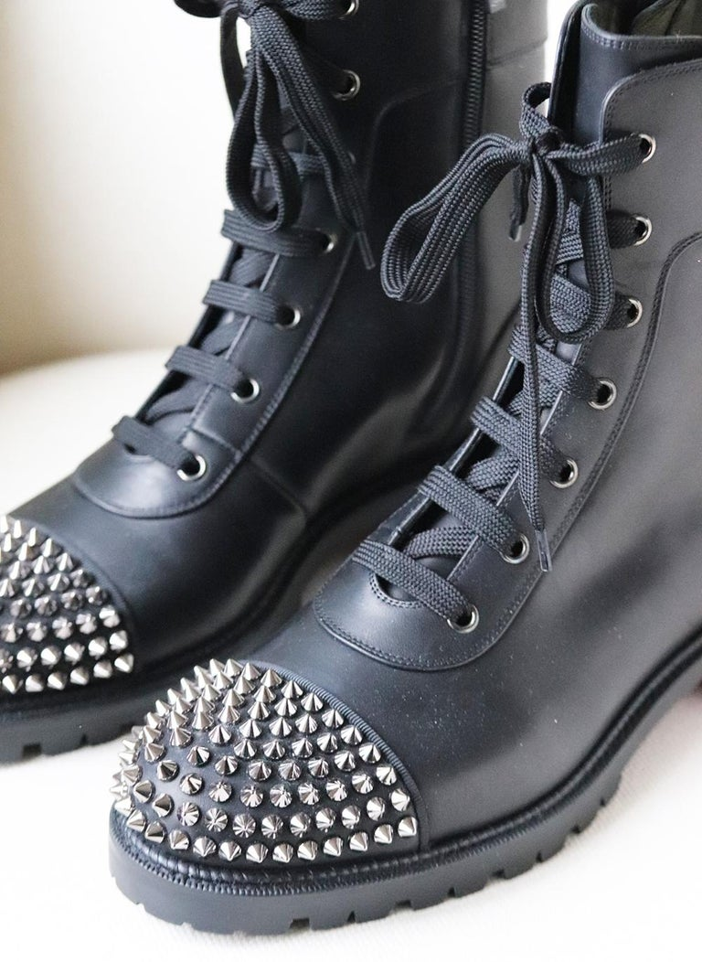 Christian Louboutin Spiked Leather Ankle Boots In New Condition For Sale In London, GB