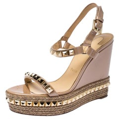 Christian Louboutin Studded Patent Leather Cataclou Espadrille Wedge Sandal 40