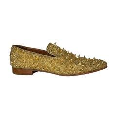 Christian Louboutin Suede Burma Mens Potpourri Dandy Flat Loafers Gold (44 EU)