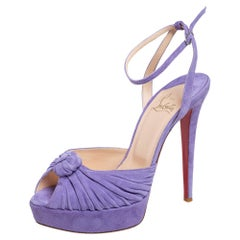 Christian Louboutin Suede  Greissimo Platform Ankle Strap Sandals Size 38.5