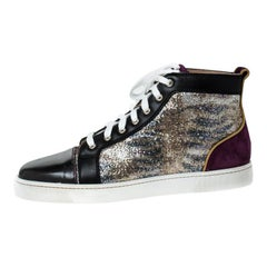 Christian Louboutin Suede Leather And Glitter Fabric Sneakers Size 45