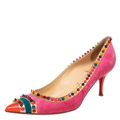 Christian Louboutin Suede Malabar Hill Spiked Pointed Toe Pumps Size 41
